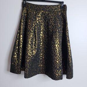 Gracia Shiny Leopard Flare Skirt Black & Gold Sz L